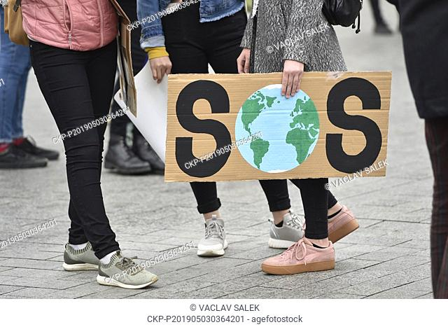 Students strike for better climate protection and emission lowering, in Brno, Czech Republic, on Friday, May 3, 2019. (CTK Photo/Vaclav Salek)