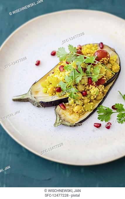Marinated aubergine cooked in an oven
