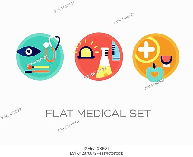 Medical care icons collection with colorful flat tools signs and elements on light background isolated vector illustration