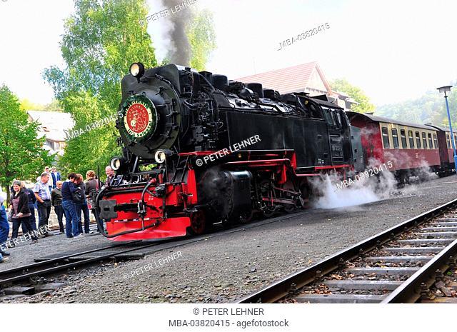 Germany, Saxony-Anhalt, Ostharz, steam train, nostalgically, Harz Narrow Gauge Railways