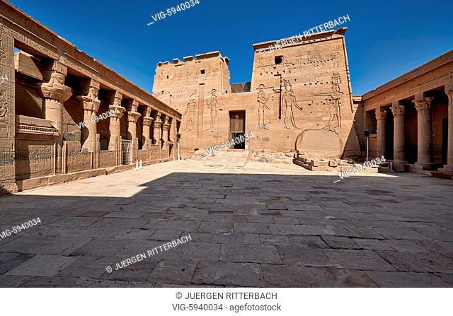 EGYPT, ASWAN, 10.11.2016, ptolemaic temple of Philae, Aswan, Egypt, Africa - Aswan, Egypt, 10/11/2016
