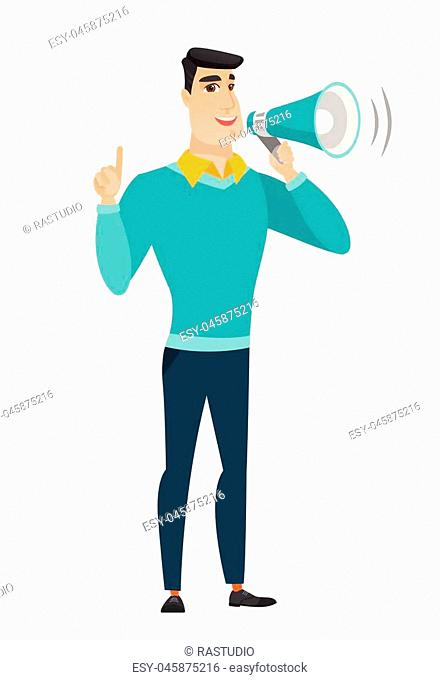Businessman with a megaphone making an announcement. Businessman making an announcement through megaphone. Business announcement concept