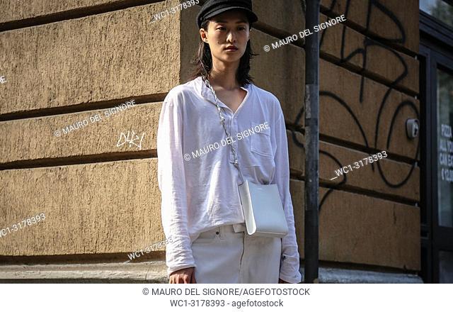 MILAN, Italy- September 19 2018: Chu Wong on the street during the Milan Fashion Week