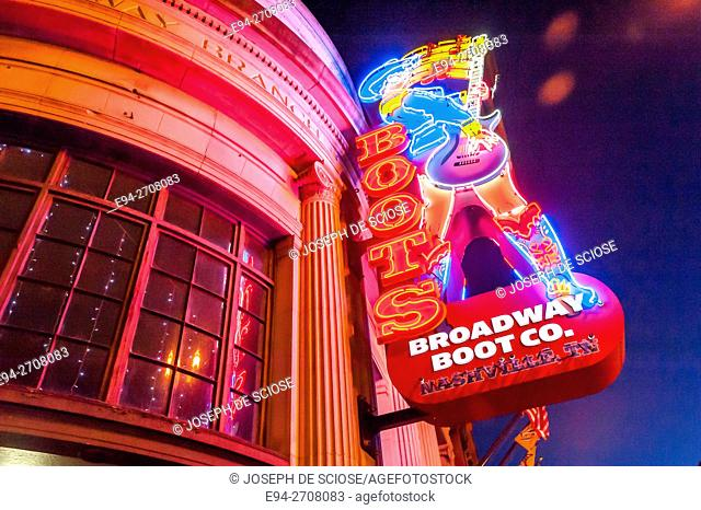 Lighted store signage on Broadway in Nashville, Tennessee