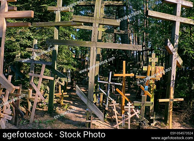 Grabarka, POLAND-AUGUST 23, 2018: Grabarka Orthodox Church Sanctuary in sunset light with old crosses next to chapel, Podlasie Voivodeship, Poland, Europe
