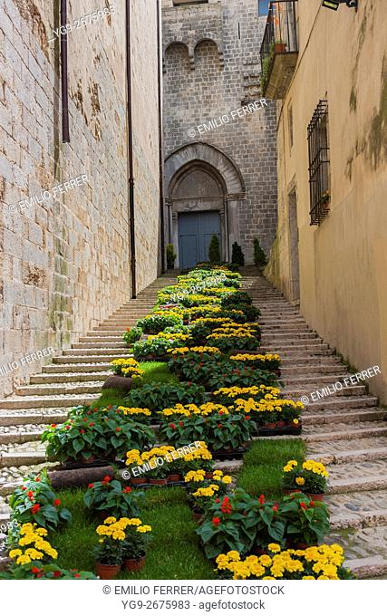 FLORAL ART EXHIBITION IN GIRONA. CATALONIA. SPAIN