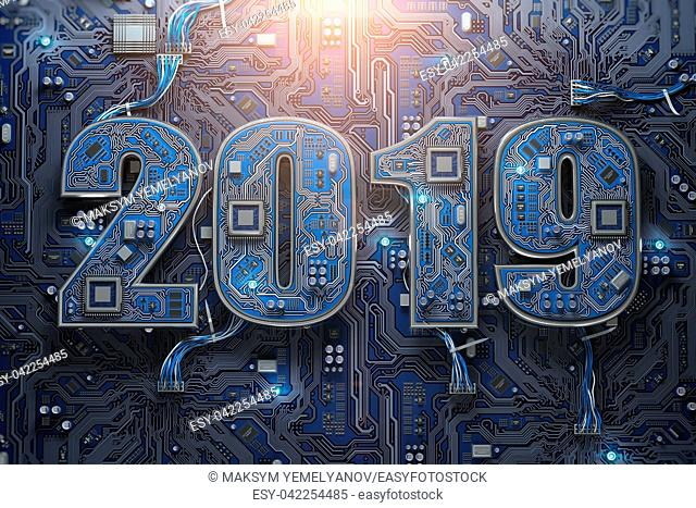 2019 on circuit board or motherboard with cpu. Computer technology and internet commucations digital concept. Happy new 2019 year. 3d illustration