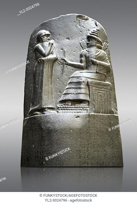Babylonian Hammurabi stone relief sculpture. Hammurabi was the sixth Amorite king of Babylon from 1792 BC to 1750 BC . Hammurabi (standing)