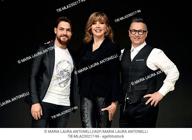 Valerio Scanu, the conductor Milly Carlucci and Paolo Belli during the photo call of talent show ' Ballando con le stelle ' Rome, ITALY-23-02-2017