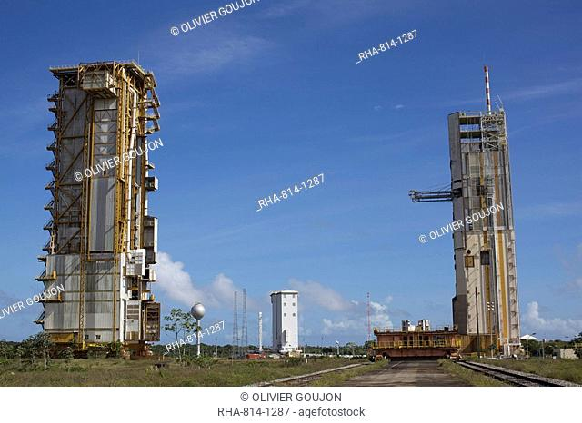 In the space center of Kuru, a rocket booster of the third system Ariane, French Guiana, South America