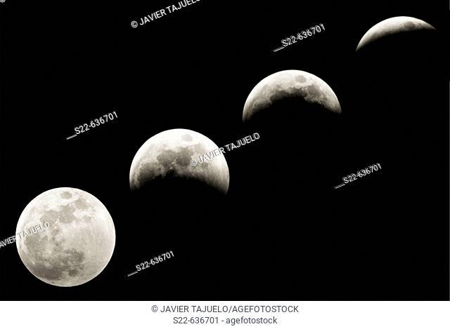 Progression of a lunar eclipse