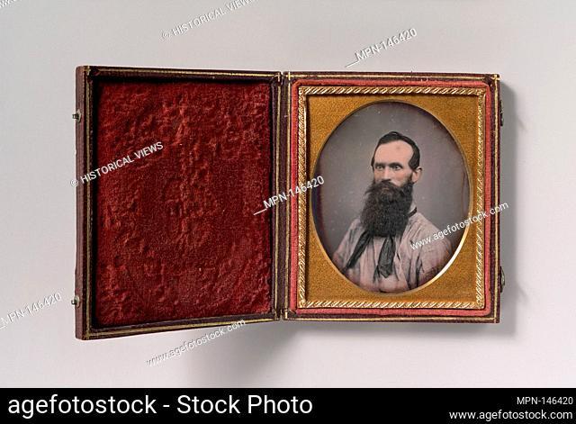 [Bearded Man in Shirtsleeves and String Tie]. Artist: Unknown (American); Date: 1850s; Medium: Daguerreotype; Dimensions: Image: 7.1 x 5