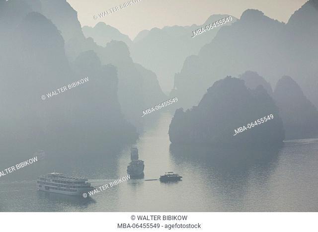 Vietnam, Halong Bay, Tito Island, elevated view of Halong Bay