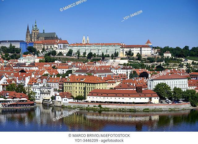 Prague Czech Republic. View of Charles Bridge, Vltava river and the castle (hrad)