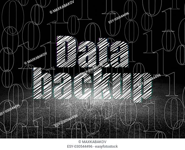 Data concept: Glowing text Data Backup in grunge dark room with Dirty Floor, black background with Binary Code, 3d render