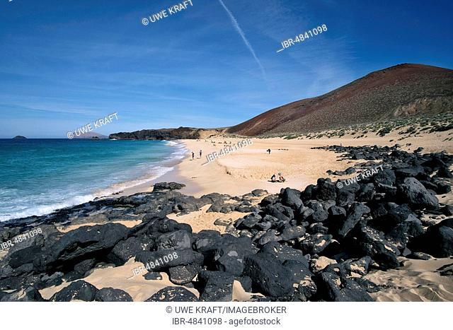 Playa de las Conchas and Volcano Montana Bermeja in the North, La Graciosa, Canary Islands, Spain