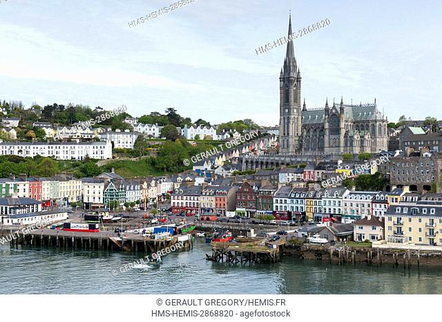Ireland, Cork County, Cobh, Saint-Colman Cathedral overlooking the city and port