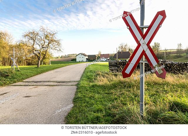 Railway Crossing near Hörbach Station of Discontinued Haager Lies railway track between Haag am Hausruck and Lambach. Austria
