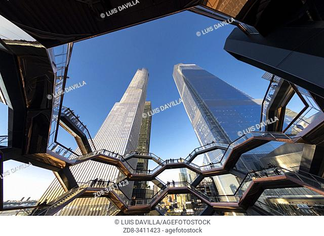 Inside The Vessel in the Hudson Yards area. New York . USA- Oct 6, 2019
