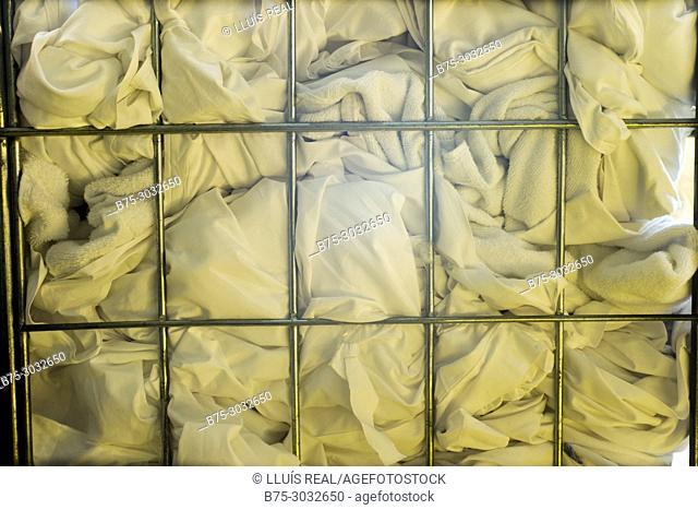 Heap of sheets to clean. Mahon, Menorca, Balearic Islands, Spain