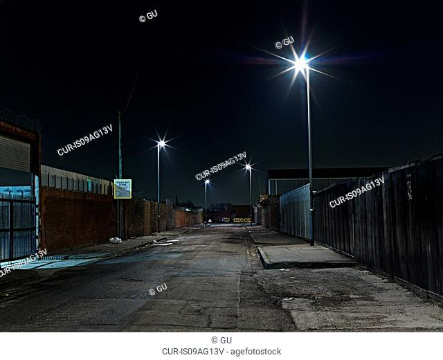 Industrial district at night