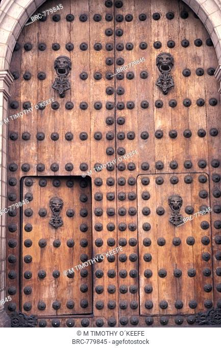 South America, Peru, Lima, Cathedral Door