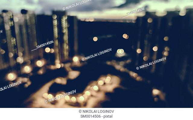 Horizontal dark night city backdrop bokeh