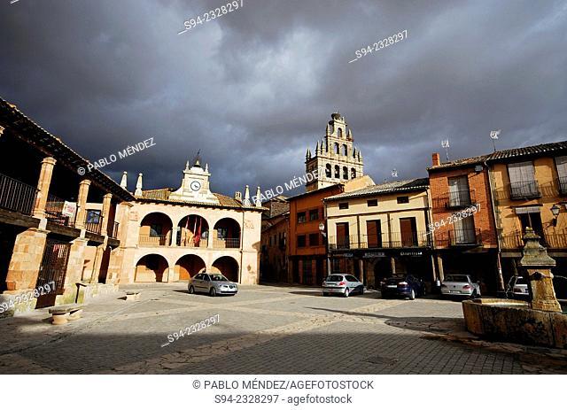 Main square of Ayllon in Segovia province, Spain