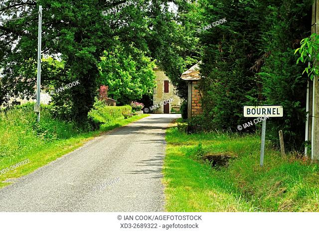 road into Bournel, Lot-et-Garonne Department, Aquitaine, France