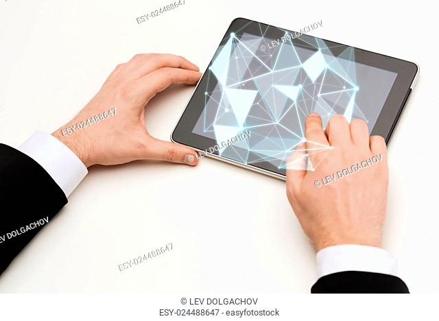 people, business, virtual reality and technology concept - close up of man hands touching tablet pc computer screen with virtual low poly shape projection