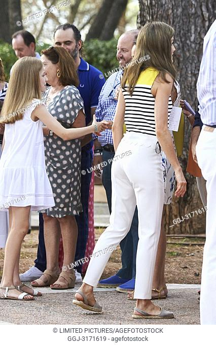King Felipe VI of Spain, Queen Letizia of Spain, Crown Princess Leonor, Princess Sofia pose for the photographers at the Marivent Palace on July 31