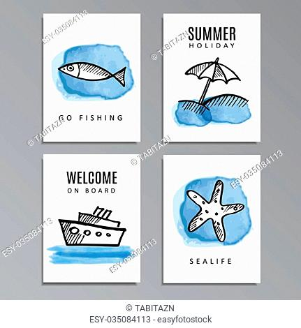 Set of summer cards with hand drawn doodles, sketches, watercolor painted, vector illustration background