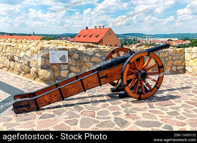 Medieval cannon on top of hill Eger Castle in Hungary