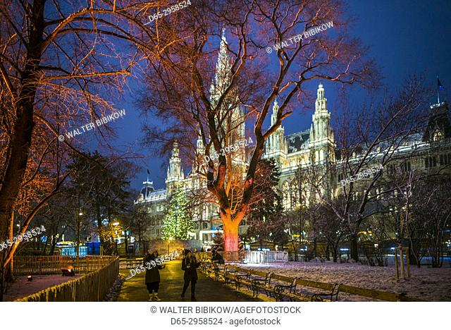 Austria, Vienna, Rathaus, Town Hall, Christmastime