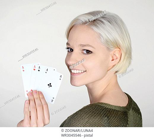 woman with four aces