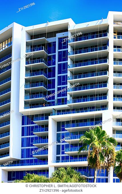 Close up of the Vue Condos on the waterfront in Sarasota FL, USA