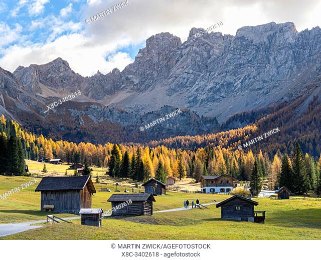 Val San Nicolo in Val di Fassa. Marmolada mountain range in the Dolomites of Trentino. Dolomites are part of the UNESCO world heritage