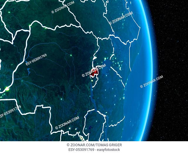 Rwanda from orbit of planet Earth at night with visible borderlines and city lights. 3D illustration. Elements of this image furnished by NASA