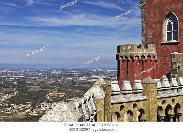 The Arches Yard and chapel in the Pena Palace overlooking the town of Sintra and the Atlantic Ocean in Santa Eufemia, Adroana, Sintra, Lisboa, Portugal