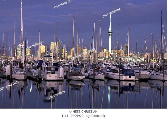 Auckland, North Island, Marina, Skyline, Westhaven, New Zealand, night, sailing boats, boats