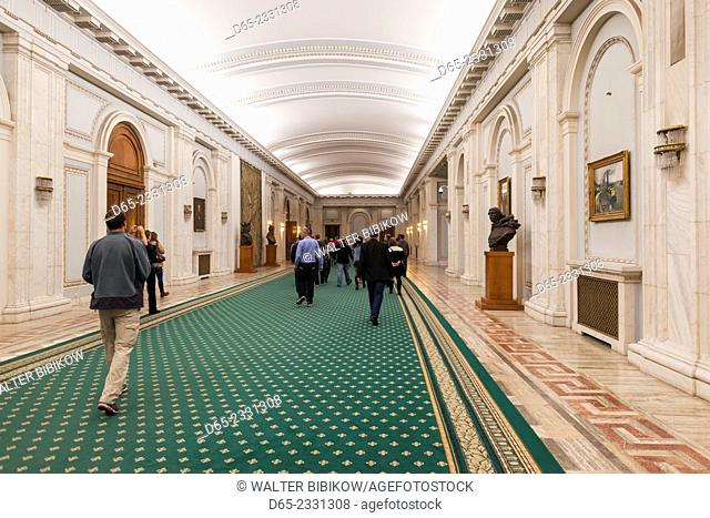Romania, Bucharest, Palace of Parliament, world's second-largest building, lobby interior