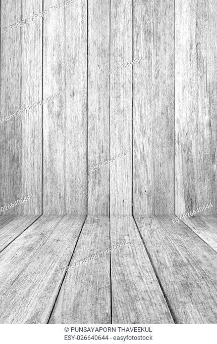Perspective wood floor panel with black and white tone background, stock photo.