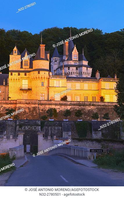 Rigny-Usse, Castle, Chateau de Usse, Usse Castle, Indre-et-Loire, Dusk, Cycling Itinerary, Pays de la Loire, Loire Valley, UNESCO World Heritage Site, France