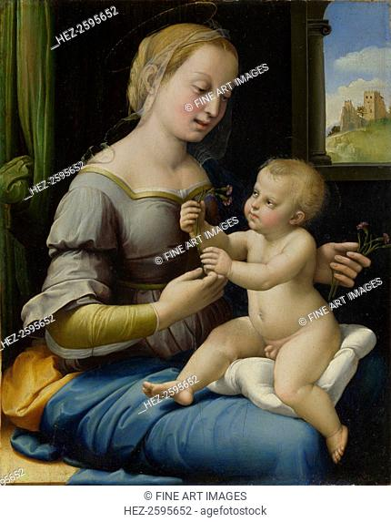 The Madonna of the Pinks (La Madonna dei Garofani), ca 1506-1507. Found in the collection of the National Gallery, London