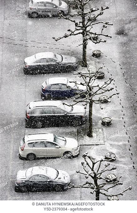 parking lot in winter, view from above, Geneva, Switzerland