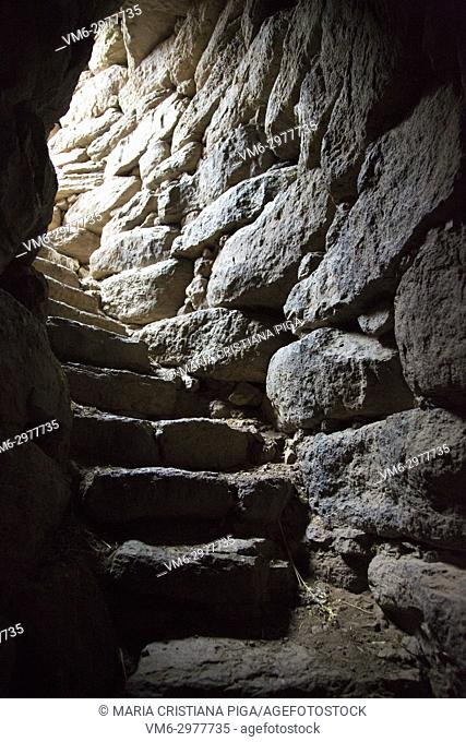 The internal stone staircase in the Nuraghe Orolo, that leads on to the roof. Nuraghe Orolo, near Bortigali, Sardinia, Italy