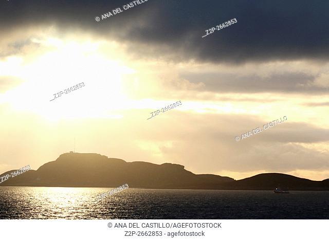 Norwegian sunset from a ship near Trondheim