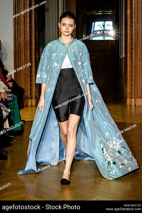 PARIS, FRANCE - JANUARY 22: A model walks the runway during the Yanina Couture Show during the Paris Fashion Week on January 22, 2020 in Paris, France