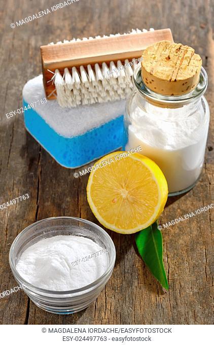 Baking soda, lemon, sponge for house cleaning