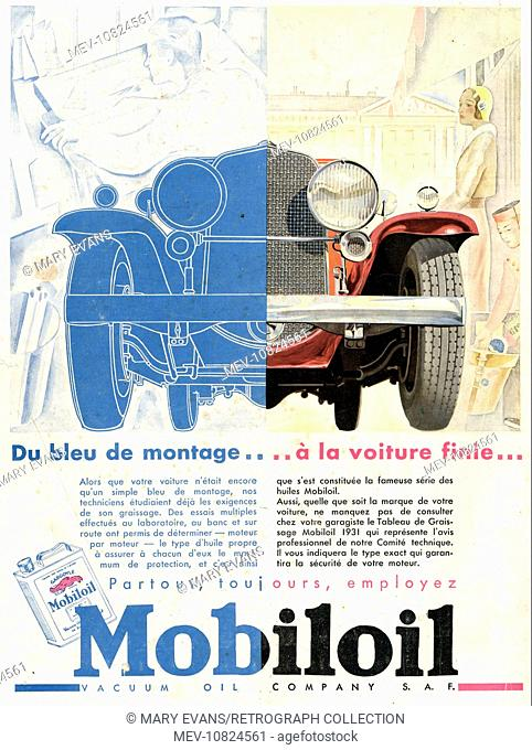 Art Deco Magazine Advertisement for Mobiloil, from blueprint to finished car